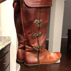FRYE DEEP COGNAC KNEE HIGH BOOTS